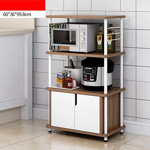 NAN Liang Küche Mikrowelle Regal, Küche Schrank Regal, Küche Servierwagen, 60x36x99.8cm Nicht rosten (Farbe : Eiche) -