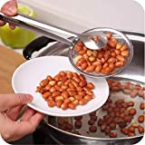 HOME CUBE® 1 Pcs Multi-functional 2 In 1 Fry Tool Filter Spoon Strainer With Clip,Oil Frying BBQ Filter Stainless Steel Mesh Strainer Kitchen Tool