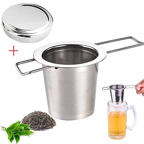 VNEIRW Teesieb Teefilter mit Deckel, 304 Edelstahl Tee-Sieb für losen Tee,Premium Sieb,Faltbare Griffgestaltung Passend für die Meisten Tee-Tassen und Tee-Schalen (Silber)