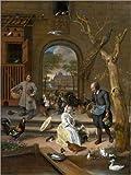 Poster 90 x 120 cm: Der Hühnerhof von Jan Havicksz. Steen - Hochwertiger Kunstdruck, Kunstposter