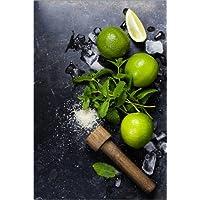 Stampa su legno 80 x 120 cm: Mojitos (ice cubes, mint, sugar and lime) di Colourbox