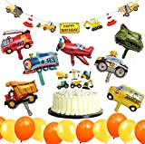 Jimiston Deco per Festa di Compleanno Bau 32 Pezzi - Palloncino per Veicoli, Banner di Buon Compleanno, Toppers per Torta e Palloncini per Bambini Compleanno Compleanno Articoli per Feste Baby Shower