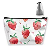 Strawberry Pattern Women Cosmetic Bags Portable Pouch Trapezoidal Storage Bag Travel Bag with Zipper