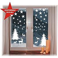 das-label Wiederverwendbare winterliche Fensterbilder weiß | Winterwald mit Sterne | Weihnachten | Fensterdeko | konturgetanzt ohne Transparenten Hintergrund (Winterwald)