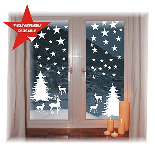 fensterbilder schneeflocken das-label Wiederverwendbare winterliche Fensterbilder weiß   Winterwald mit Sterne   Weihnachten   Fensterdeko   konturgetanzt ohne Transparenten Hintergrund (Winterwald)