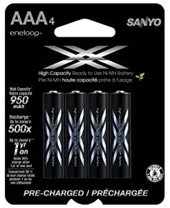 eneloop XX 950mAh Typical / 900mAh Minimum High Capacity 4 Pack AAA Ni-MH Pre-Charged Rechargeable Batteries