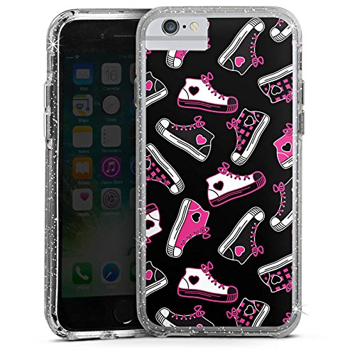 Apple iPhone 6s Plus Bumper Hülle Bumper Case Glitzer Hülle Sneaker 90s 90er Bumper Case Glitzer silber