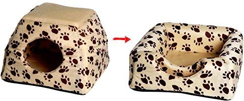 dobar 60170 Multi-Liegeplatz, Liegebett plus Kuschelhöhle in einem (ausfaltbar) für Katzen und kleine Hunde, 40 x 40 x 30 cm, beige - 3