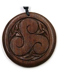 Triskel joyería de madera, colgantes y atemporal natural largo de 4 cm, correa de tela joyería madera incl