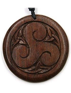 Triskel Schmuck aus Holz, Kettenanhänger zeitlos natürlich Länge 4cm, inkl Textilband Holzschmuck