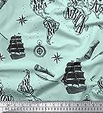 Soimoi Verde satinado modal Tela barco pirata y telescopio mapa tela estampada de por metro 42 Pulgadas de ancho