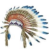 Gringo Fair Trade Indianer-Häuptling-Kopfschmuck mit blauen Federn und schwarzen Punkten