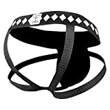 Four-Strap Jock Strap Supporter with Built-in Athletic Cup Pocket for Sports, Medium