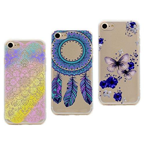 iPhone 7 Bumper Case, iPhone 7 Hülle Silikon, iPhone 7 TPU Bumper, Moon mood® Telefon Schale Gemalt Reliefs TPU Silikon Handyhülle Schutzhülle Case für Apple iPhone 7 4.7 Zoll Thin Dünn Weich TPU Schu 3 PCS 2