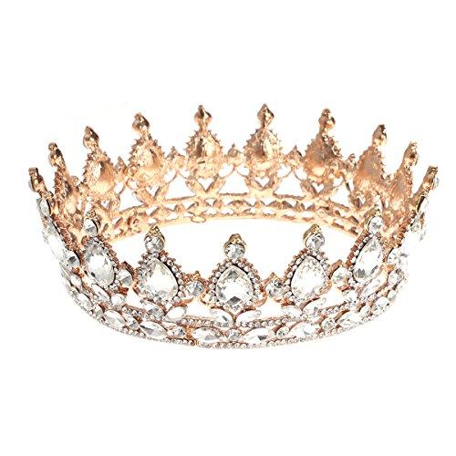 Frcolor Vintage Tiara Krone, Kristall Strass Festzug Königin Krone Tiara Haarschmuck (Königin Tiara)