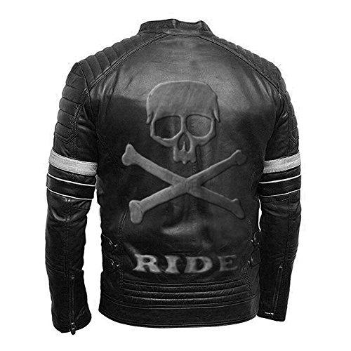 Leatherly Vintage moto Biker estilo genuino moto cuero negro con calavera en relieve en espalda blancas rayas - 3XL