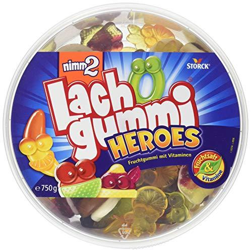 nimm2 Lachgummi Heroes Dose – Spaßiges Fruchtgummi mit Vitaminen – 12er Pack (12 x 750g Beutel)