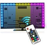 Iluminación para HDTV (78.7in / 2m) com nado a distancia – Luz multicolor RGB LED TV EveShine – Luz trasera para TV LCD pantalla planta, Monitores para ordenador – Ideal para Televisores hasta 60'' - Negro