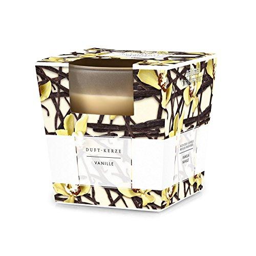 Pajoma 91034 - candela profumata con portacandela in vetro satinato, fragranza: vaniglia