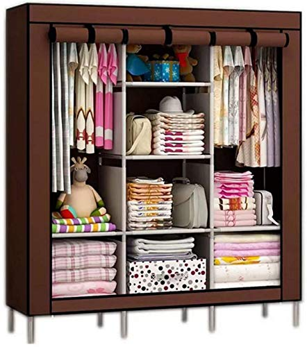 Continental online Portable Clothes Closet Home Wardrobe Storage Organizer with 8 Shelves, Brown