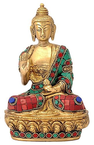 Multicolor université Gautam Buddha Sculpture en Laiton, Multicolore, Taille : 7,6 x 12,7 x 18,5 cm