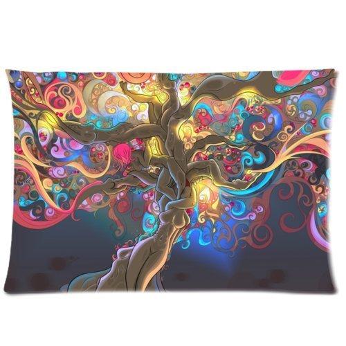 Pillow Cases psychédélique Trippy coloré Art Couvre-lit décoratif Taie d'oreiller Taie d'oreiller Housse de coussin 20 x 30 (Twin sides)