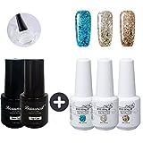 Beaunail Nagellack-Set für Gel-Nägel im Diamanten-Stil, 8 ml, UV-/LED-Lack, Maniküre, 3 Farben, inkl. Basis- und Überlack