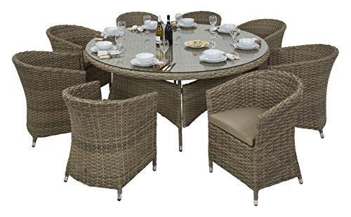 Maze Rattan - Esstisch-Set Natural Milan mit rundem 120-cm-Tisch und 4Stühlen mit beigen Kissen und passendem Sonnenschirm -