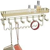 mDesign - Organizador para accesorios, de pared; guarda alhajas, collares, aros, pulseras, relojes pulsera - Oro perlado