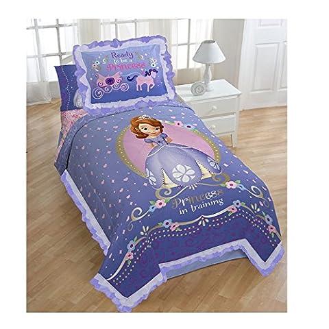 Princess Sofia Brand New Exclusive Designed Girls Twin Comforter and Sham Set (Purple)