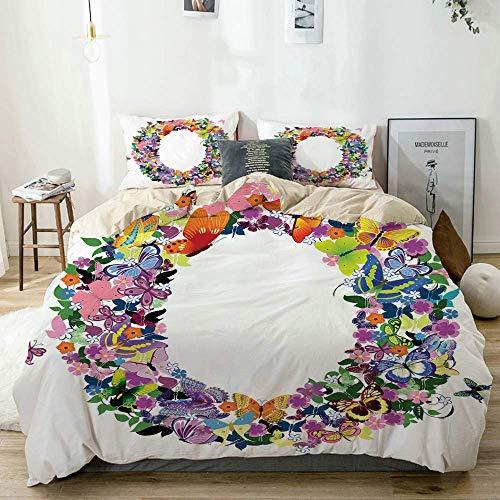 Juego de funda nórdica Beige, Letra O Impresión festiva primaveral inicial, Juego de cama decorativo...