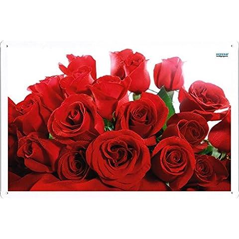 Metallo Poster Targa in metallo Piastra Flower Tin Sign Red Roses 489 Retro Vintage parete Décor by hamgaacaan (20x30cm)