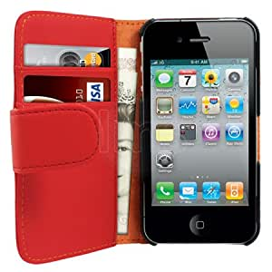 AIO AIO Red Wallet Leather Case For Apple iPhone 4 4G 16Gb 32GB + LCD Screen Protector