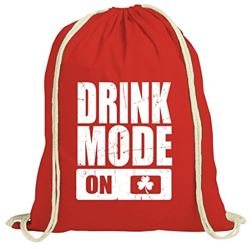 Irland St. Patrick's Day natur Turnbeutel Gym Bag Drink Mode On Rot Natur
