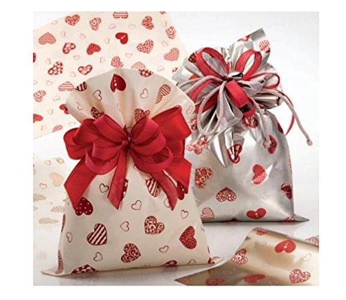50 bustine regalo 6505 15x25cm cuore rosso / avorio fantasia natalizia