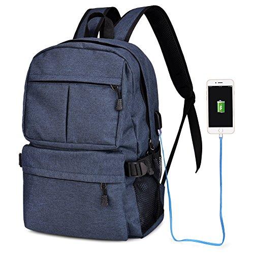 Vbiger Zaino Porta PC Zaino Uomo Zanino Scuola Impermeabile Zaino PC Con Caricatore USB