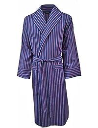 Lloyd Attree & Smith - robe de chambre légère 100% coton - rayé bleu marine / rouge / blanc - homme