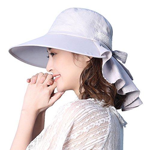 Damen Sommerhut rollbarer Sonnenhut UPF 50 mit Nackenschutz Grau M SIGGI