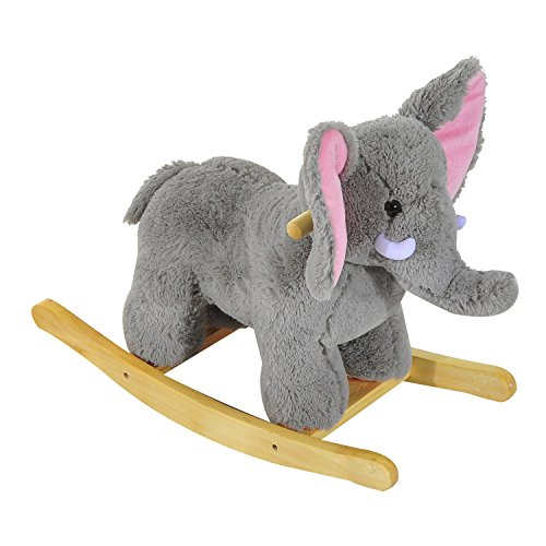 HOMCOM Kids Toy Rocking Horse Wood Plush Handle Ride on Animal Wooden Riding Traditional Rocker Gift w/ 32 nursery rhymes (Grey Elephant)