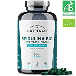 Spirulina Biologica | 500 Compresse Bio da 500 mg Pure Senza Eccipienti | 15 a 19% di Ficocianina | Polvere Essiccata e…