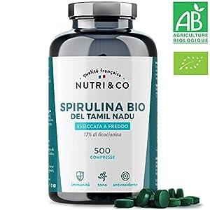 Spirulina Biologica | 500 Compresse Bio da 500 mg Pure Senza Eccipienti | 15 a 19% di Ficocianina | Polvere Essiccata e Compressa a Freddo | Analizzata e Confezionata in Francia da Nutri&Co 2 spesavip