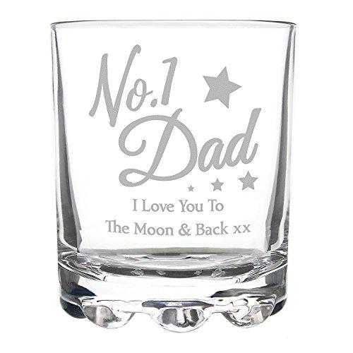 No 1 Dad I Love You to the moon and back Stern Verre à whisky Verres Tumbler cadeaux Cadeau idées cadeaux pour anniversaire fête des pères Noël