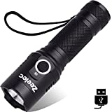LED Flashlight, Zeelec FL5 High Powered Portable Flashlights with Adjustable Focus and 3 Light Modes, Outdoor Water Resistant Torch For Camping, Hiking, Backpacking, Fishing etc (Black)