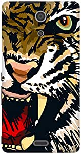 The Racoon Grip Amber Snarling Tiger hard plastic printed back case / cover for Sony Xperia ZR