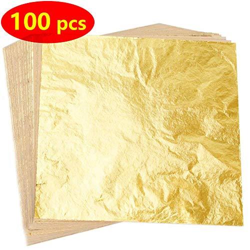 QFUN 100 Blätter Imitation Blattgold für Kunst, Vergoldung Handwerk,Blätter Nachahmung Gold Leaf für Kunst, Dekoration DIY, Vergoldung Crafting, Frames,14 mal 14 cm(Gold)