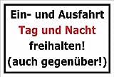 Melis Folienwerkstatt Schild - Ein- und Ausfahrt Tag und Nacht freihalten - 30x20cm mit Bohrlöchern | Stabile 3mm Starke Aluminiumverbundplatte – S00344-A +++ in 20 Varianten