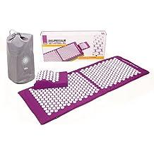 Akupressur-Set VITAL XL (aubergine): Akupressurmatte (130 x 50cm) mit Akupressur-Kissen im günstigen Set, vitalisierende Matte für den Rücken und Kissen für den Nacken, wohltuende Entspannungsmatte