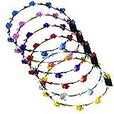 LUGOW Stirnbänder für Frauen LED Club Party Concert Leuchten Bright Flash Glowing Stirnband Flexible Boho Floral Stirnband Haarschmuck Haargummis Damen Haarreife(Gelb)