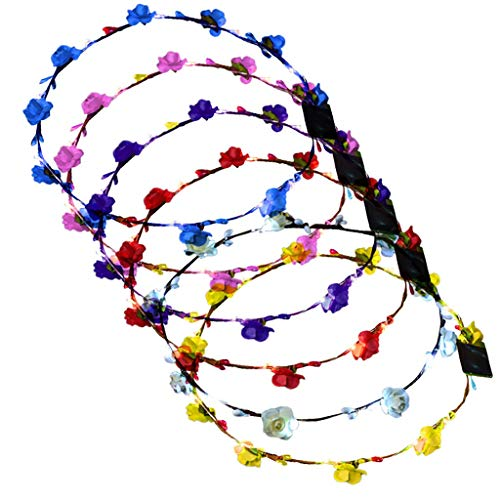 LUGOW Stirnbänder für Frauen LED Club Party Concert Leuchten Bright Flash Glowing Stirnband Flexible Boho Floral Stirnband Haarschmuck Haargummis Damen Haarreife(Blau)