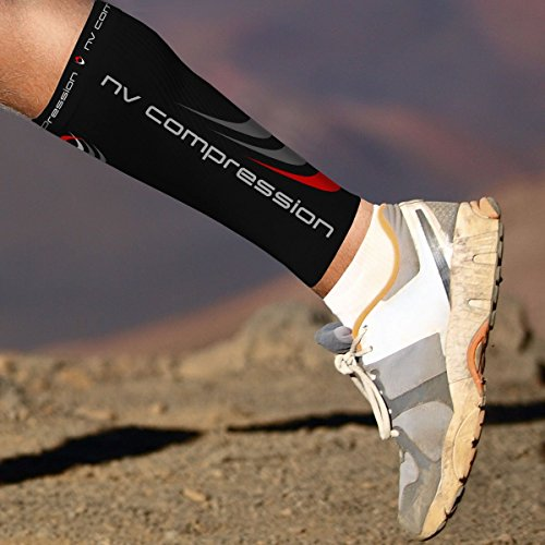 NV Compression 365 Calf Guards/Sleeves (PAIR) 20-30mmHg – For Sports Recovery, Shin Splints, Medical, Work, Flight – Running, Cycling, Soccer, Rugby, Fitness, Gym, Golf, Tennis, Triathlon, Medium